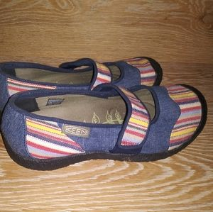 Keen multi color striped denim mary janes